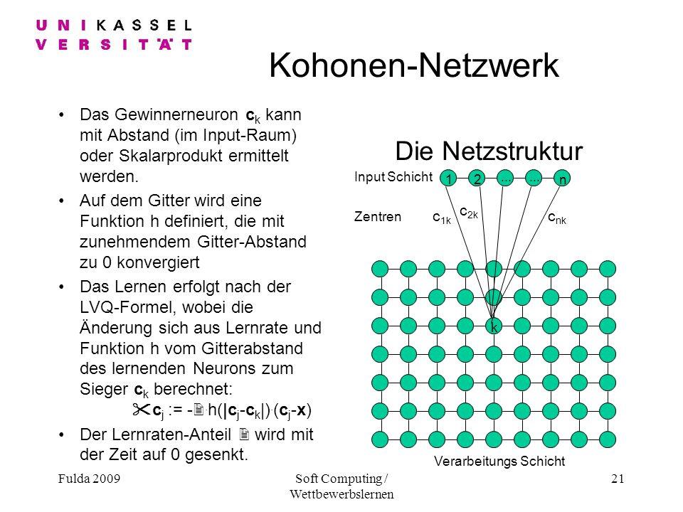 Fulda 2009Soft Computing / Wettbewerbslernen 21 Kohonen-Netzwerk Das Gewinnerneuron c k kann mit Abstand (im Input-Raum) oder Skalarprodukt ermittelt werden.