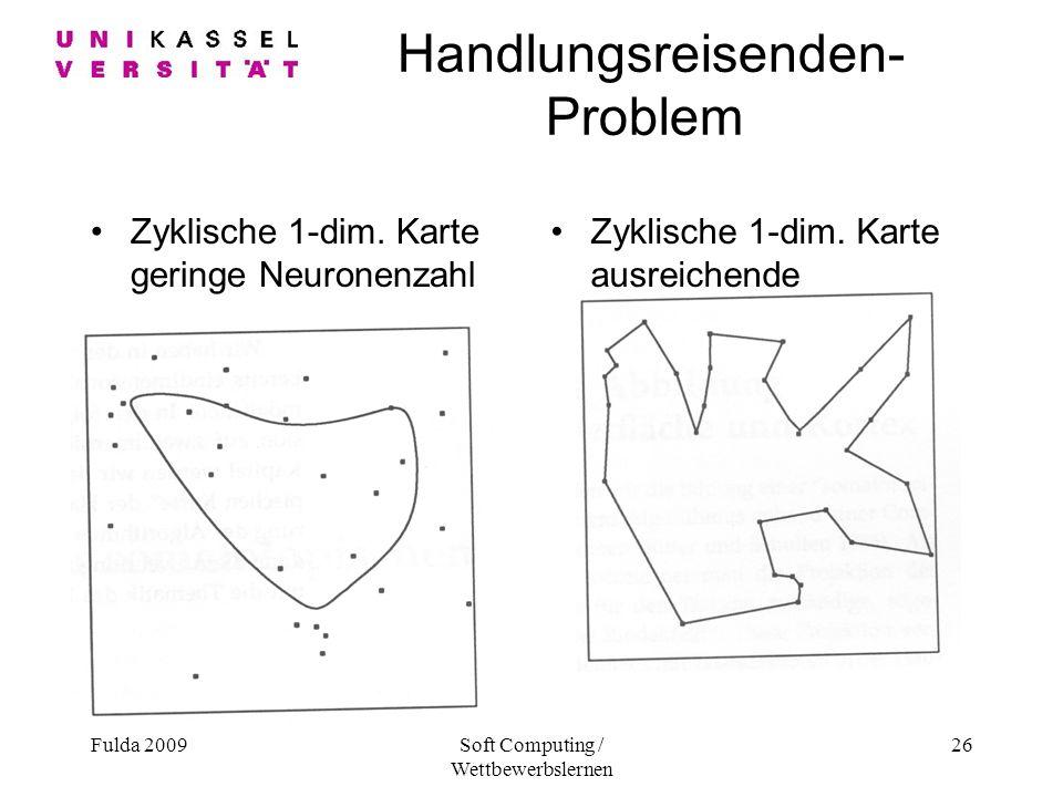 Fulda 2009Soft Computing / Wettbewerbslernen 26 Handlungsreisenden- Problem Zyklische 1-dim.