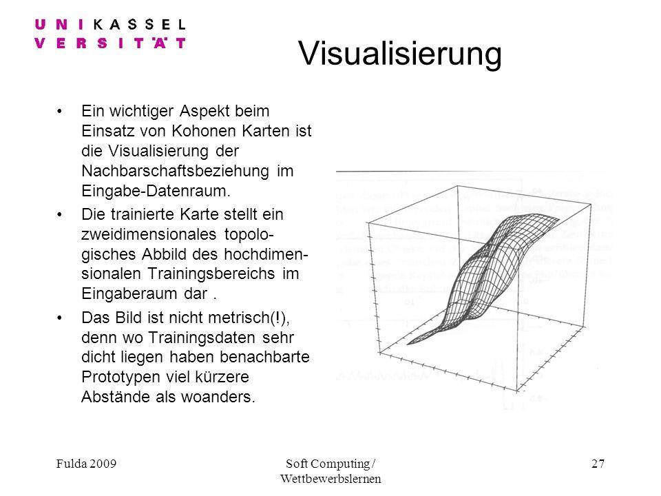 Fulda 2009Soft Computing / Wettbewerbslernen 27 Visualisierung Ein wichtiger Aspekt beim Einsatz von Kohonen Karten ist die Visualisierung der Nachbarschaftsbeziehung im Eingabe-Datenraum.