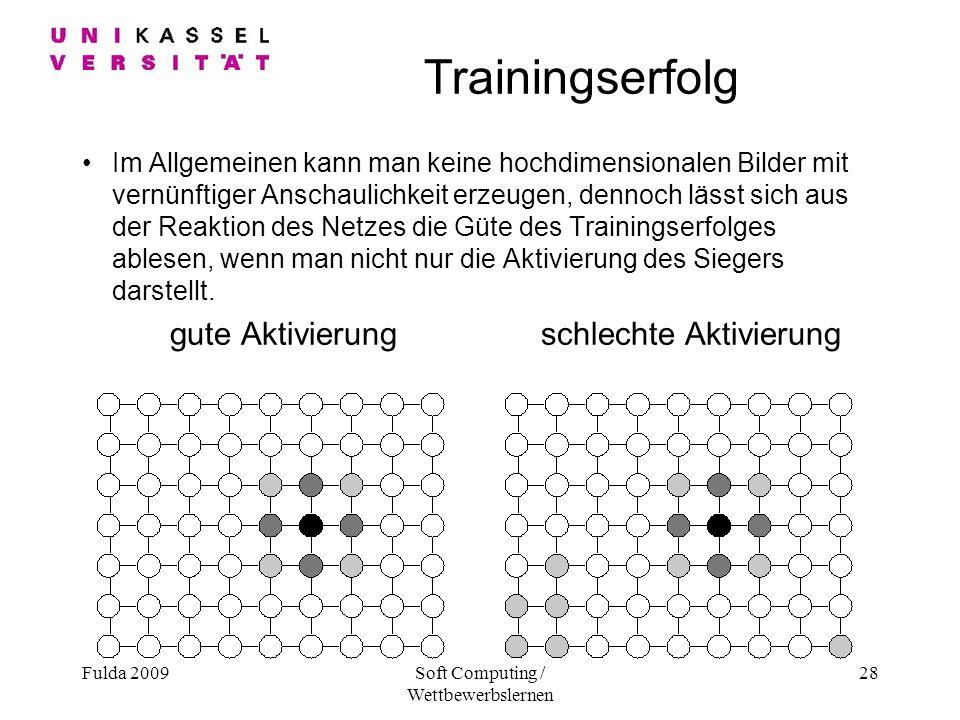 Fulda 2009Soft Computing / Wettbewerbslernen 28 Trainingserfolg Im Allgemeinen kann man keine hochdimensionalen Bilder mit vernünftiger Anschaulichkeit erzeugen, dennoch lässt sich aus der Reaktion des Netzes die Güte des Trainingserfolges ablesen, wenn man nicht nur die Aktivierung des Siegers darstellt.