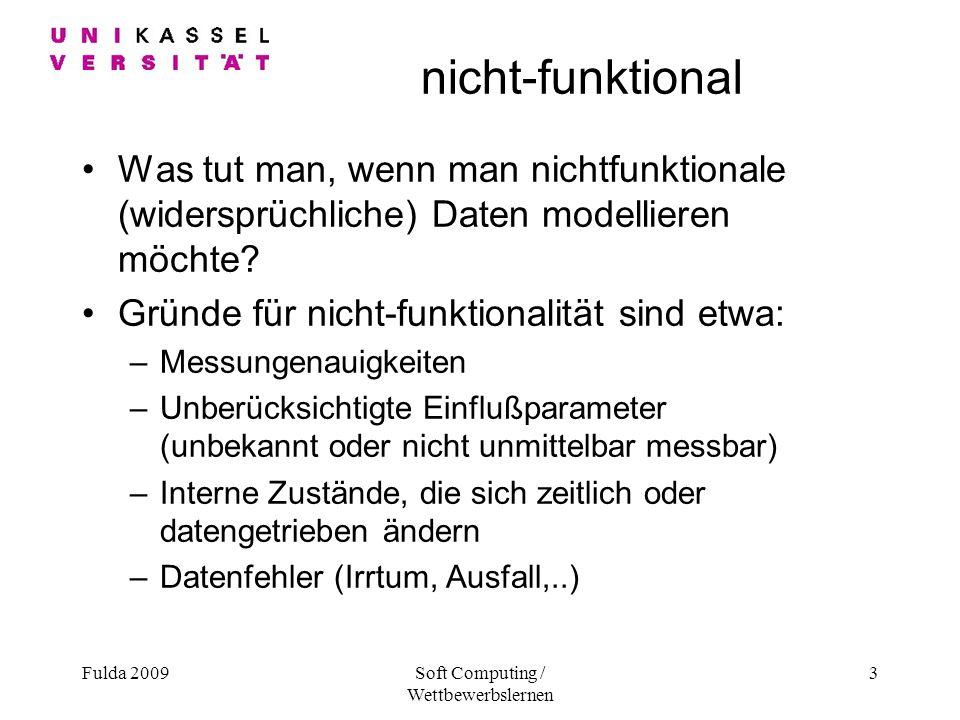 Fulda 2009Soft Computing / Wettbewerbslernen 3 nicht-funktional Was tut man, wenn man nichtfunktionale (widersprüchliche) Daten modellieren möchte.
