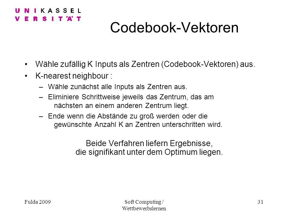 Fulda 2009Soft Computing / Wettbewerbslernen 31 Codebook-Vektoren Wähle zufällig K Inputs als Zentren (Codebook-Vektoren) aus.