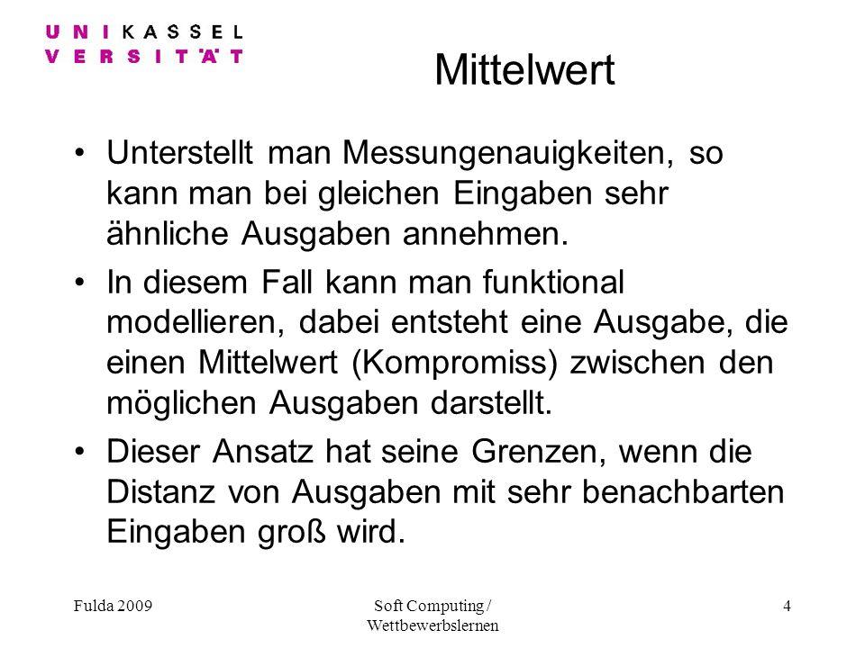 Fulda 2009Soft Computing / Wettbewerbslernen 4 Mittelwert Unterstellt man Messungenauigkeiten, so kann man bei gleichen Eingaben sehr ähnliche Ausgaben annehmen.