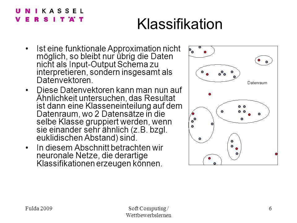 Fulda 2009Soft Computing / Wettbewerbslernen 6 Klassifikation Ist eine funktionale Approximation nicht möglich, so bleibt nur übrig die Daten nicht als Input-Output Schema zu interpretieren, sondern insgesamt als Datenvektoren.