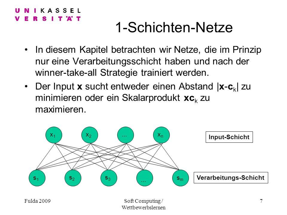 Fulda 2009Soft Computing / Wettbewerbslernen 7 1-Schichten-Netze In diesem Kapitel betrachten wir Netze, die im Prinzip nur eine Verarbeitungsschicht haben und nach der winner-take-all Strategie trainiert werden.