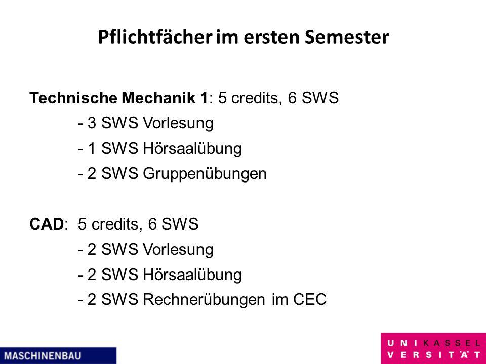 Pflichtfächer im ersten Semester Technische Mechanik 1: 5 credits, 6 SWS - 3 SWS Vorlesung - 1 SWS Hörsaalübung - 2 SWS Gruppenübungen CAD:5 credits,