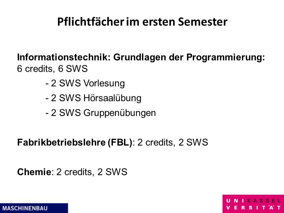Pflichtfächer im ersten Semester Informationstechnik: Grundlagen der Programmierung: 6 credits, 6 SWS - 2 SWS Vorlesung - 2 SWS Hörsaalübung - 2 SWS G