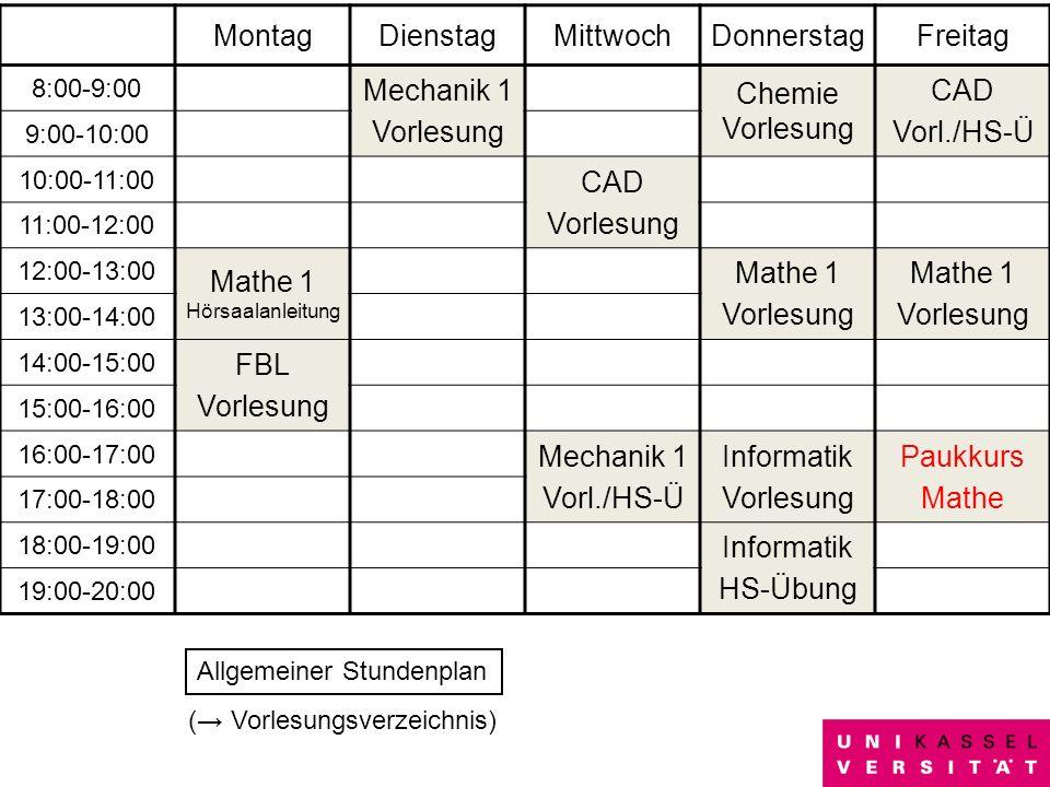 14 MontagDienstagMittwochDonnerstagFreitag 8:00-9:00 Mechanik 1 Vorlesung Chemie Vorlesung CAD Vorl./HS-Ü 9:00-10:00 10:00-11:00 CAD Vorlesung 11:00-1