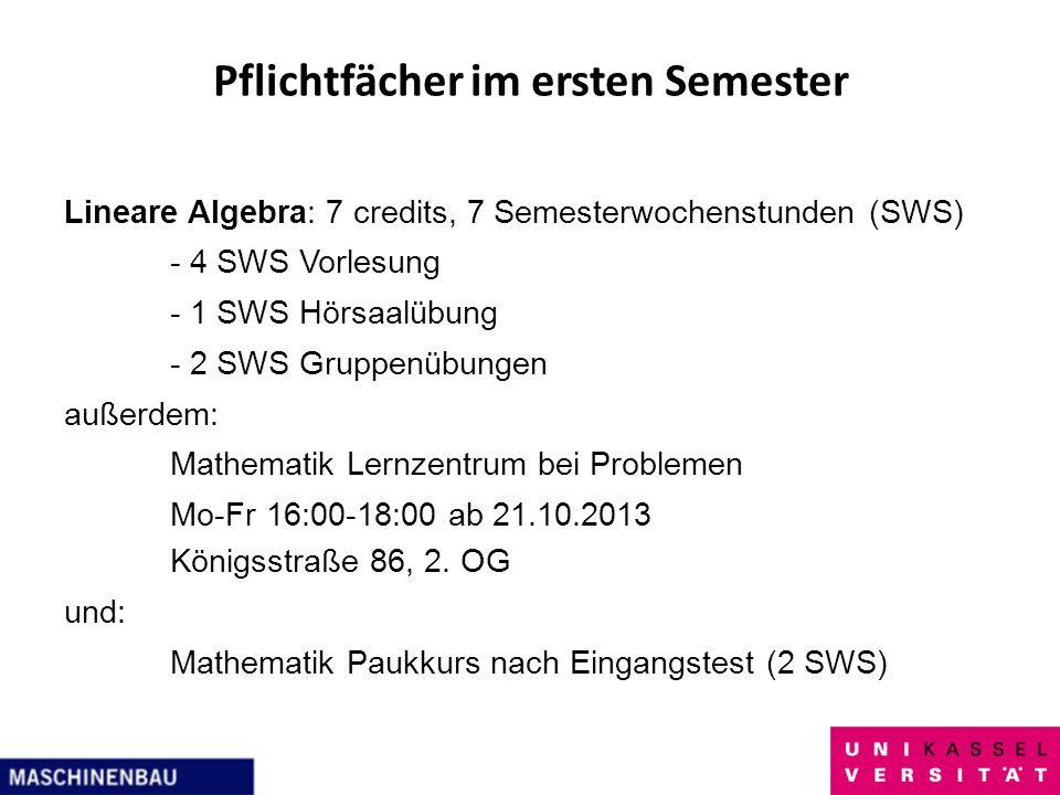 Pflichtfächer im ersten Semester Lineare Algebra: 7 credits, 7 Semesterwochenstunden (SWS) - 4 SWS Vorlesung - 1 SWS Hörsaalübung - 2 SWS Gruppenübung