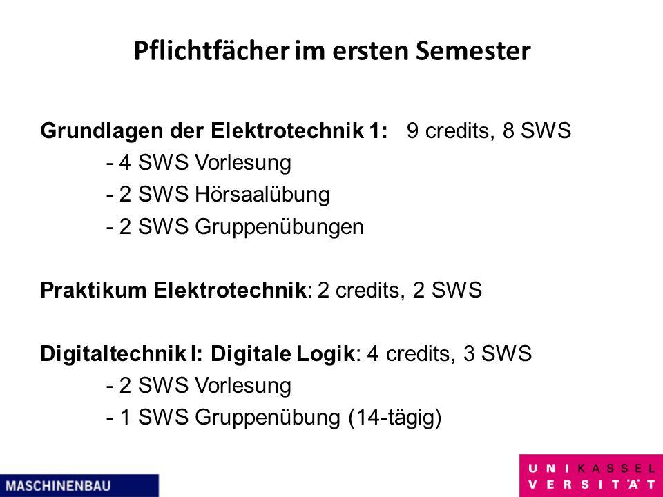 Pflichtfächer im ersten Semester Grundlagen der Elektrotechnik 1: 9 credits, 8 SWS - 4 SWS Vorlesung - 2 SWS Hörsaalübung - 2 SWS Gruppenübungen Prakt