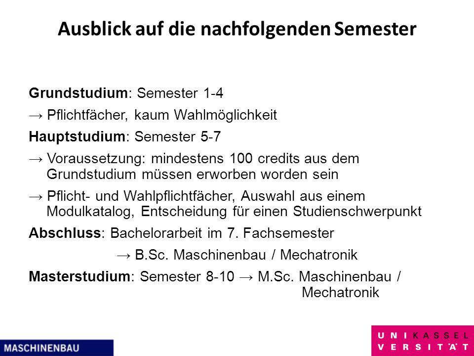 Ausblick auf die nachfolgenden Semester Grundstudium: Semester 1-4 Pflichtfächer, kaum Wahlmöglichkeit Hauptstudium: Semester 5-7 Voraussetzung: minde