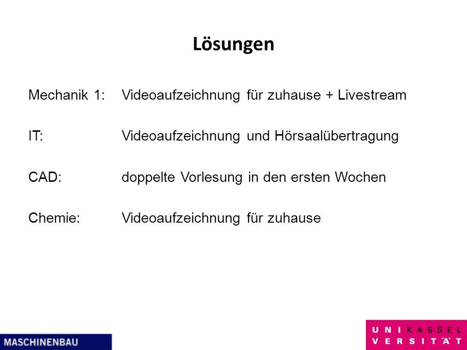 Lösungen Mechanik 1:Videoaufzeichnung für zuhause + Livestream IT:Videoaufzeichnung und Hörsaalübertragung CAD:doppelte Vorlesung in den ersten Wochen