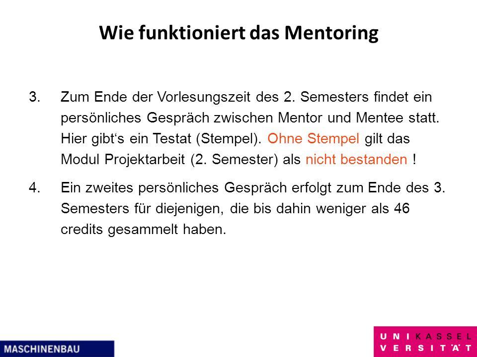 Wie funktioniert das Mentoring 3.Zum Ende der Vorlesungszeit des 2. Semesters findet ein persönliches Gespräch zwischen Mentor und Mentee statt. Hier