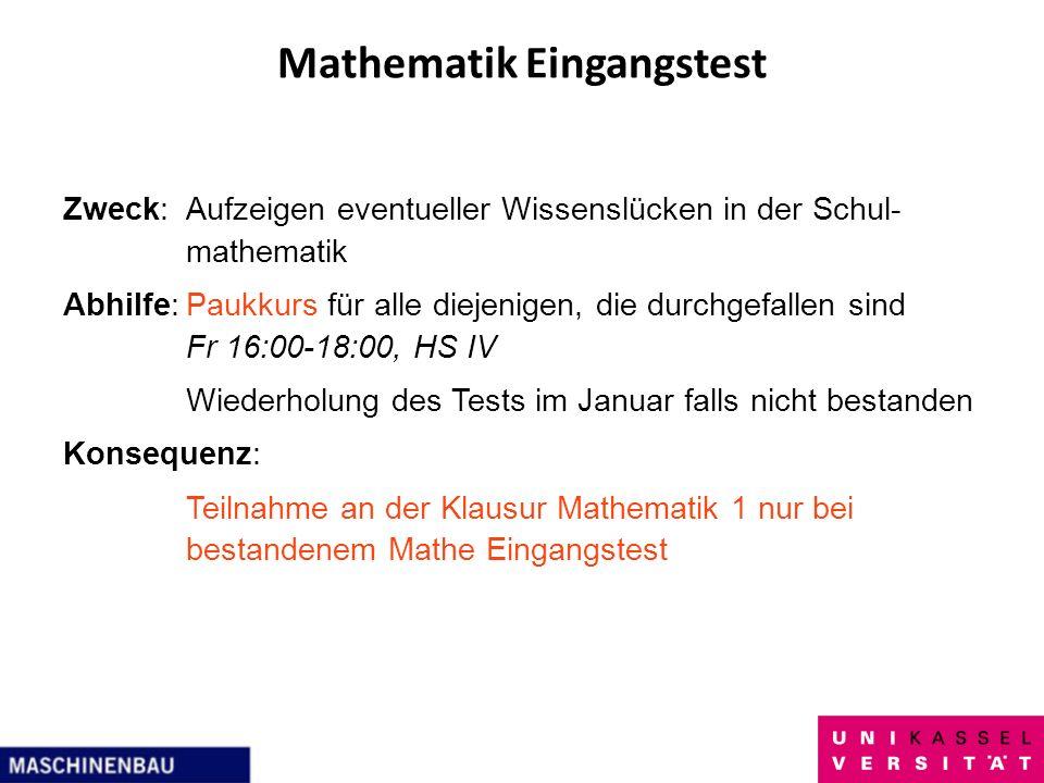 Mathematik Eingangstest Zweck:Aufzeigen eventueller Wissenslücken in der Schul- mathematik Abhilfe:Paukkurs für alle diejenigen, die durchgefallen sin