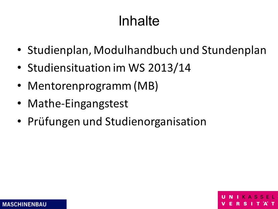 Inhalte Studienplan, Modulhandbuch und Stundenplan Studiensituation im WS 2013/14 Mentorenprogramm (MB) Mathe-Eingangstest Prüfungen und Studienorgani
