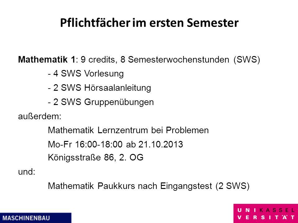 Pflichtfächer im ersten Semester Mathematik 1: 9 credits, 8 Semesterwochenstunden (SWS) - 4 SWS Vorlesung - 2 SWS Hörsaalanleitung - 2 SWS Gruppenübun