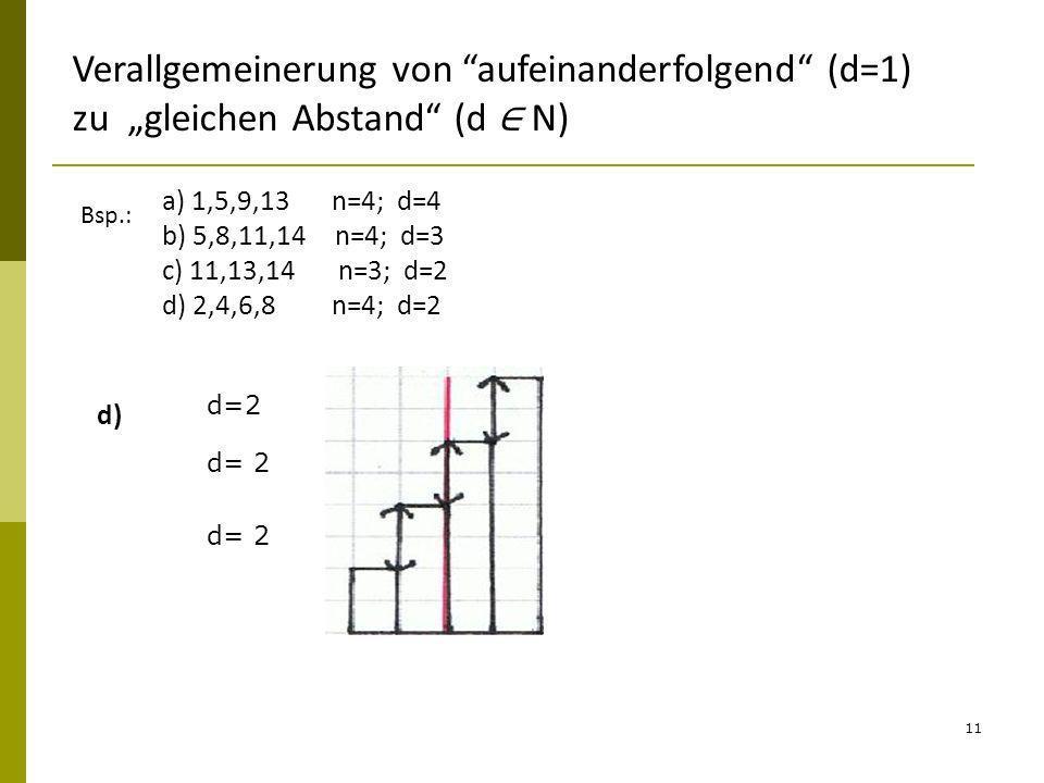 11 Verallgemeinerung von aufeinanderfolgend (d=1) zu gleichen Abstand (d N) Bsp.: a) 1,5,9,13 n=4; d=4 b) 5,8,11,14 n=4; d=3 c) 11,13,14 n=3; d=2 d) 2
