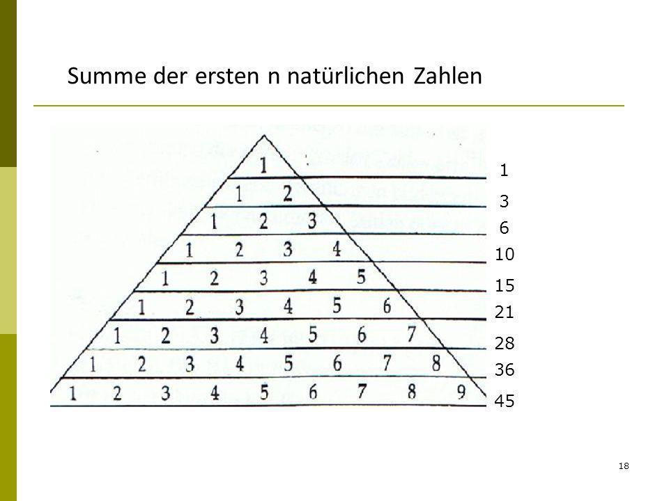 18 1 3 6 10 15 21 28 36 45 Summe der ersten n natürlichen Zahlen
