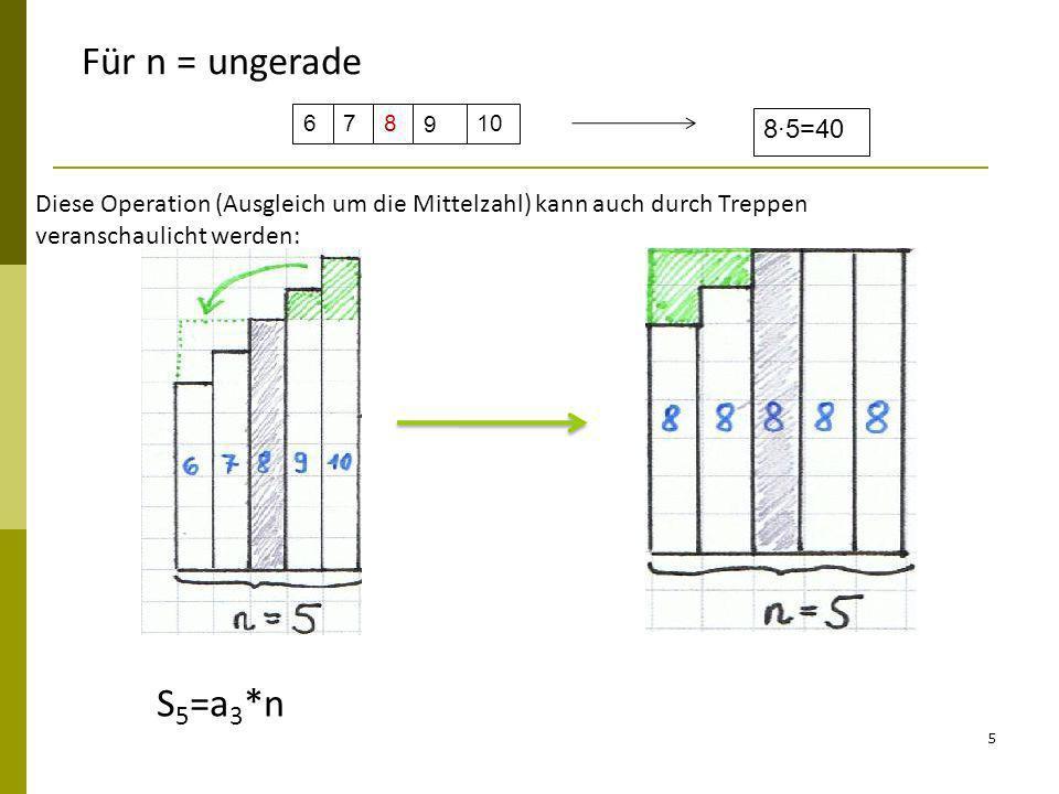 5 67810 9 85=40 Diese Operation (Ausgleich um die Mittelzahl) kann auch durch Treppen veranschaulicht werden: Für n = ungerade S 5 =a 3 *n