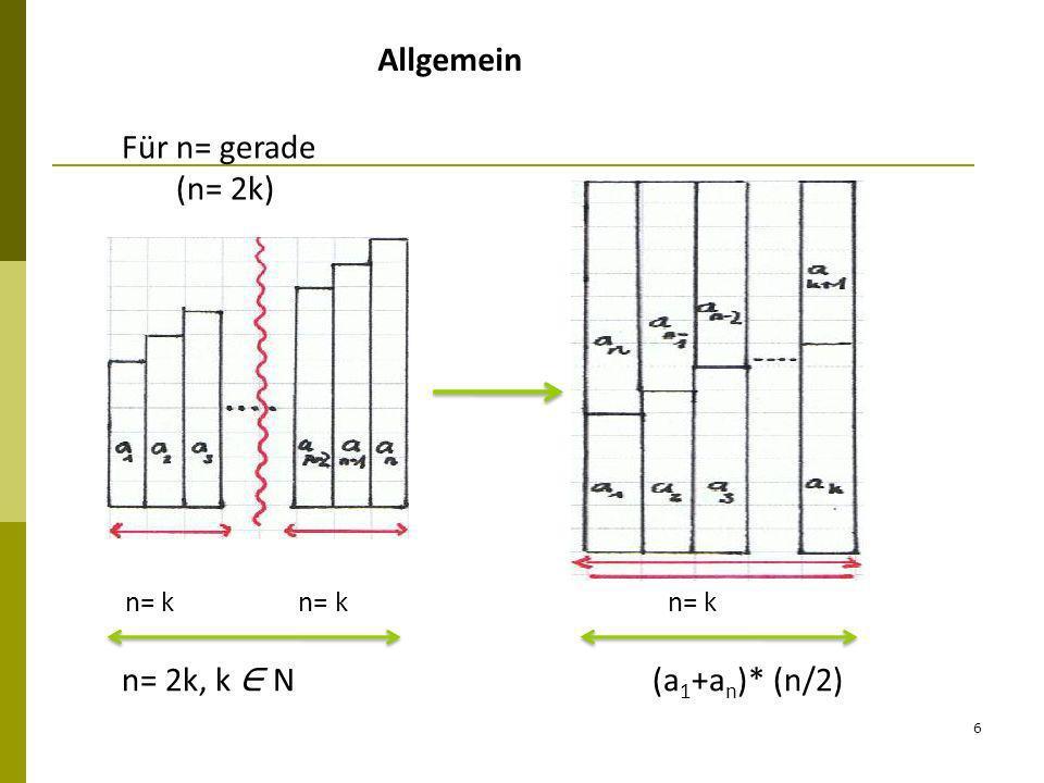 6 Allgemein n= k n= k n= k n= 2k, k N (a 1 +a n )* (n/2) Für n= gerade (n= 2k)