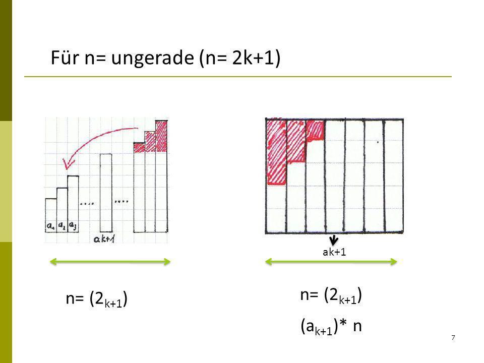8 Ohne reines umordnen n= 4 n=3 (gerade) (ungerade) Idee: Verdoppeln des Zahlenturms