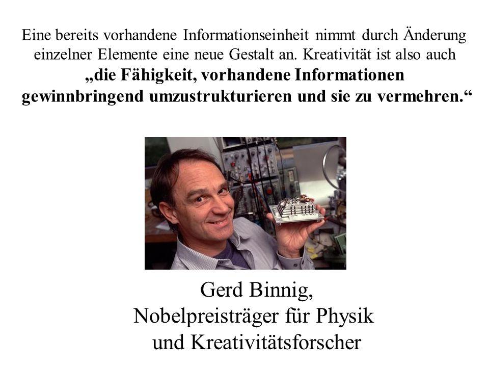 Gerd Binnig, Nobelpreisträger für Physik und Kreativitätsforscher Eine bereits vorhandene Informationseinheit nimmt durch Änderung einzelner Elemente eine neue Gestalt an.
