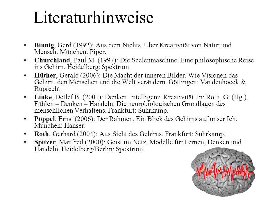 Literaturhinweise Binnig, Gerd (1992): Aus dem Nichts. Über Kreativität von Natur und Mensch. München: Piper. Churchland, Paul M. (1997): Die Seelenma