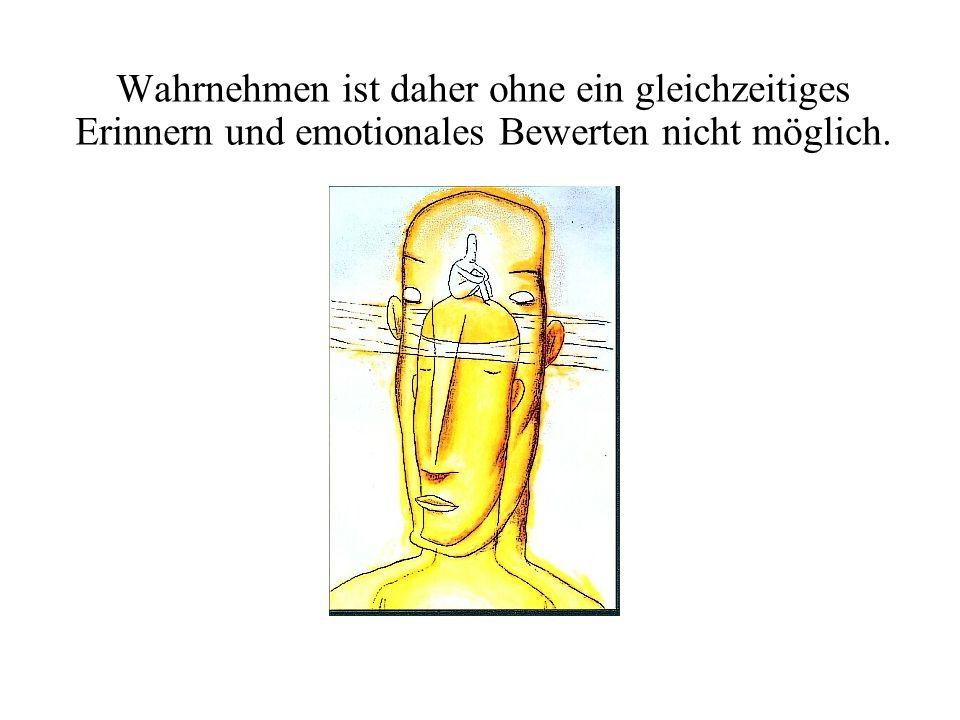 Wahrnehmen ist daher ohne ein gleichzeitiges Erinnern und emotionales Bewerten nicht möglich.