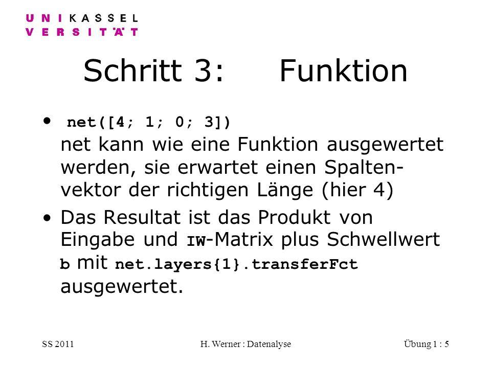 SS 2011H. Werner : DatenalyseÜbung 1 : 5 Schritt 3: Funktion net([4; 1; 0; 3]) net kann wie eine Funktion ausgewertet werden, sie erwartet einen Spalt