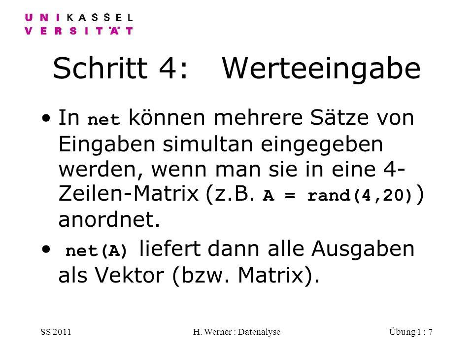 SS 2011H. Werner : DatenalyseÜbung 1 : 7 Schritt 4: Werteeingabe In net können mehrere Sätze von Eingaben simultan eingegeben werden, wenn man sie in