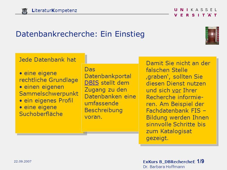 ExKurs B_DBRechercheE 1/9 Dr.