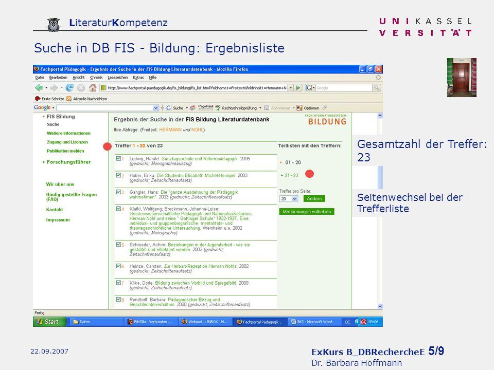 ExKurs B_DBRechercheE 5/9 Dr.