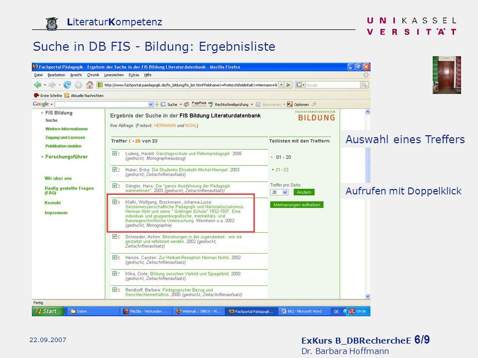 ExKurs B_DBRechercheE 6/9 Dr.
