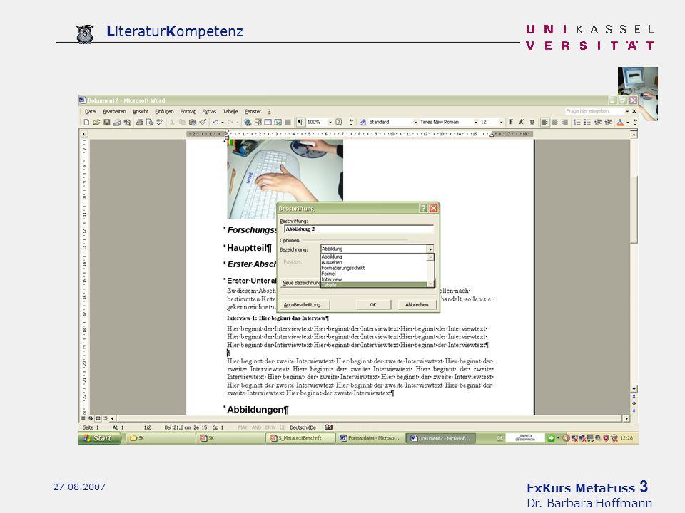 ExKurs MetaFuss 3 Dr. Barbara Hoffmann LiteraturKompetenz 27.08.2007