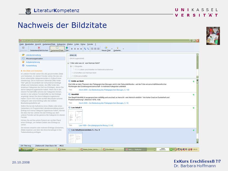 ExKurs ErschliessB 7/7 Dr. Barbara Hoffmann LiteraturKompetenz 20.10.2008 Nachweis der Bildzitate