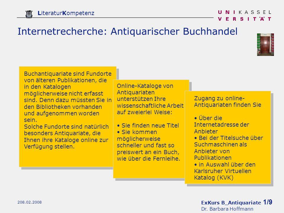 ExKurs B_Antiquariate 1/9 Dr.