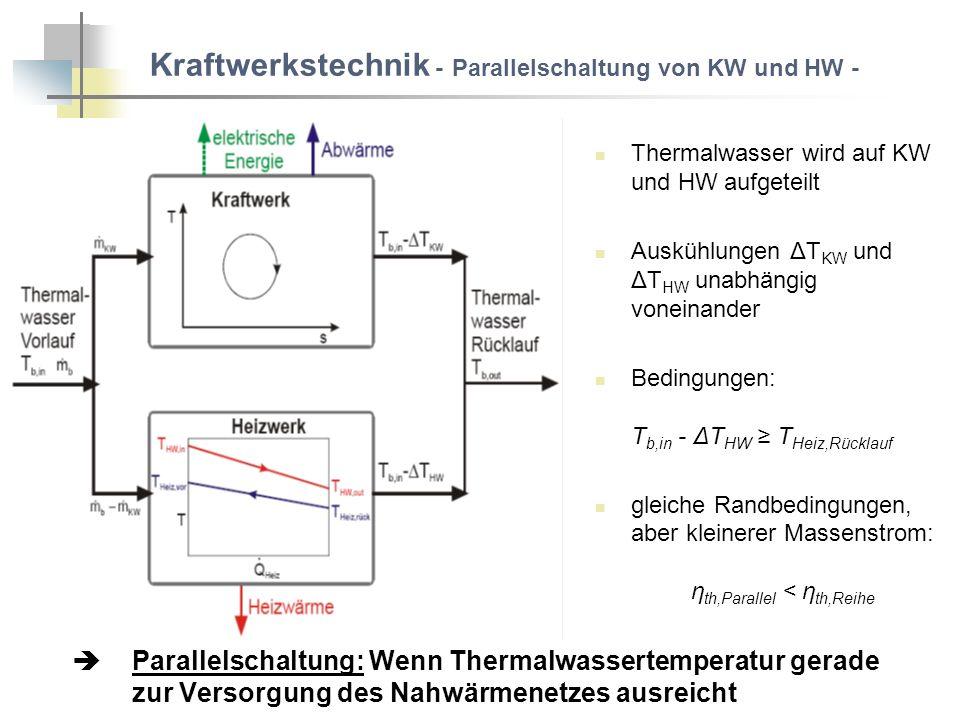 Kraftwerkstechnik - Parallelschaltung von KW und HW - Thermalwasser wird auf KW und HW aufgeteilt Auskühlungen ΔT KW und ΔT HW unabhängig voneinander