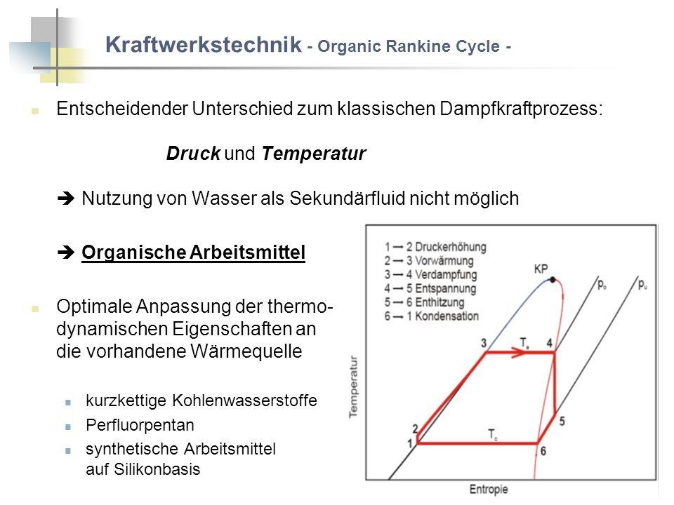 Entscheidender Unterschied zum klassischen Dampfkraftprozess: Druck und Temperatur Nutzung von Wasser als Sekundärfluid nicht möglich Organische Arbeitsmittel Optimale Anpassung der thermo- dynamischen Eigenschaften an die vorhandene Wärmequelle kurzkettige Kohlenwasserstoffe Perfluorpentan synthetische Arbeitsmittel auf Silikonbasis