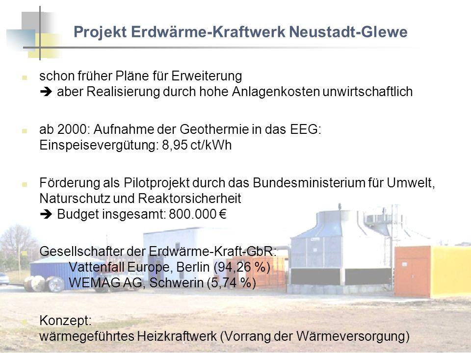 Projekt Erdwärme-Kraftwerk Neustadt-Glewe schon früher Pläne für Erweiterung aber Realisierung durch hohe Anlagenkosten unwirtschaftlich ab 2000: Aufn