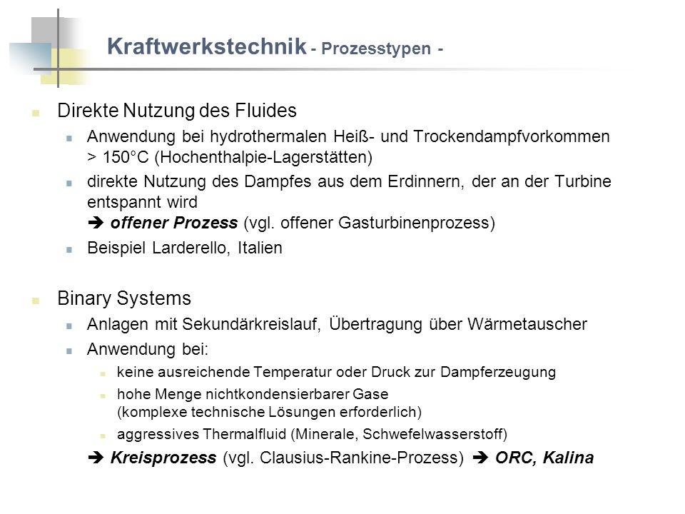 Kraftwerkstechnik - Prozesstypen - Direkte Nutzung des Fluides Anwendung bei hydrothermalen Heiß- und Trockendampfvorkommen > 150°C (Hochenthalpie-Lag