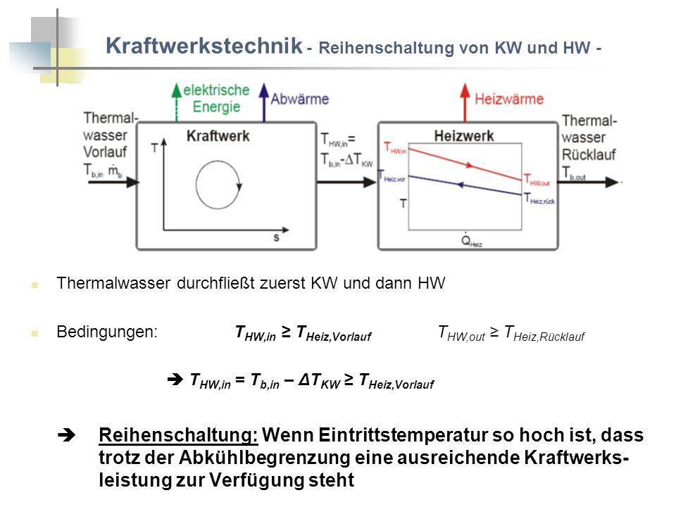 Kraftwerkstechnik - Parallelschaltung von KW und HW - Thermalwasser wird auf KW und HW aufgeteilt Auskühlungen ΔT KW und ΔT HW unabhängig voneinander Bedingungen: T b,in - ΔT HW T Heiz,Rücklauf gleiche Randbedingungen, aber kleinerer Massenstrom: η th,Parallel < η th,Reihe Parallelschaltung: Wenn Thermalwassertemperatur gerade zur Versorgung des Nahwärmenetzes ausreicht