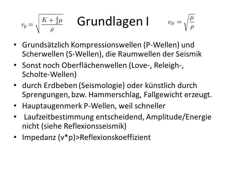 Grundlagen I Grundsätzlich Kompressionswellen (P-Wellen) und Scherwellen (S-Wellen), die Raumwellen der Seismik Sonst noch Oberflächenwellen (Love-, R