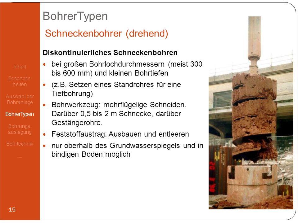 BohrerTypen Diskontinuierliches Schneckenbohren bei großen Bohrlochdurchmessern (meist 300 bis 600 mm) und kleinen Bohrtiefen (z.B. Setzen eines Stand