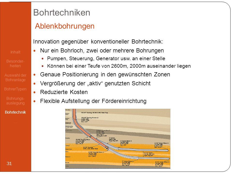 Bohrtechniken Innovation gegenüber konventioneller Bohrtechnik: Nur ein Bohrloch, zwei oder mehrere Bohrungen Pumpen, Steuerung, Generator usw. an ein