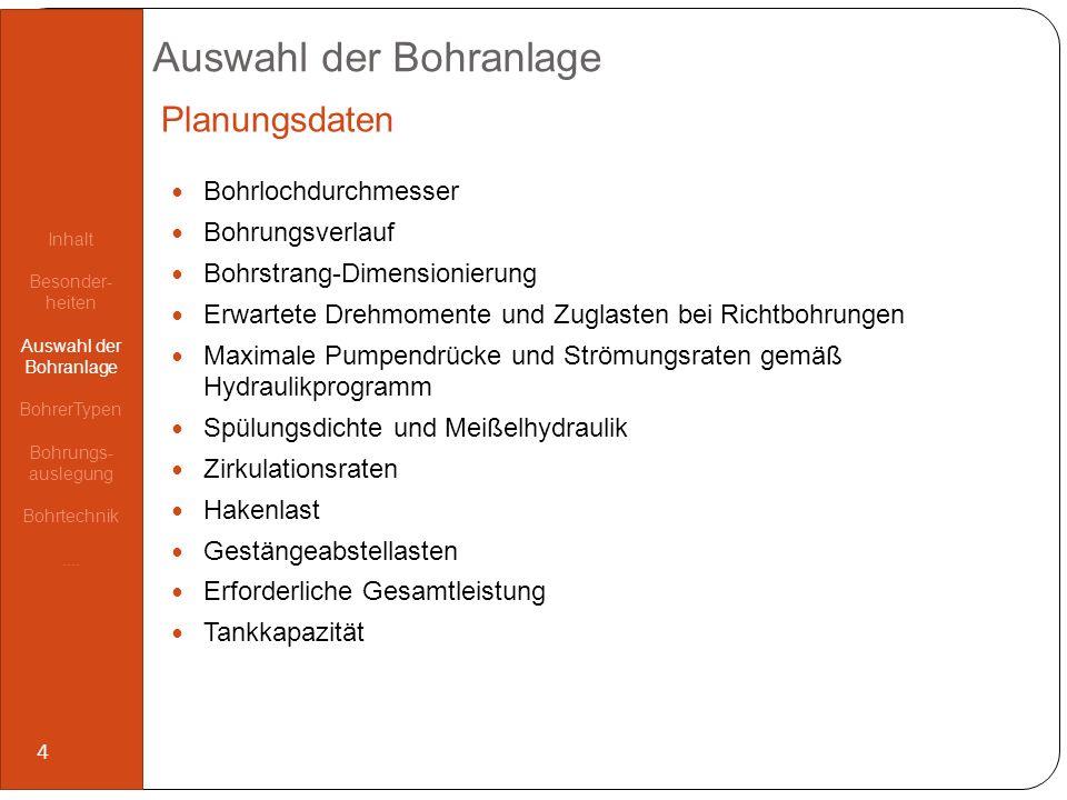 Auswahl der Bohranlage Fahrbare Bohranlagen Stationäre Bohranlagen Hakenlast150 – 200 t200 – 500 t Teufenkapazität Bohrlochdurchmesser: 8 ½ 6 3.000 m 3.500 m 3.000 – 7.000 m 3.500 – 9.000 m Bohrplatzbedarf3.000 m²5.000 m² Transportladung35 t65 t Tagesrate12.000 /d18.000 /d Bohranlagen-Vergleich Inhalt Besonder- heiten Auswahl der Bohranlage BohrerTypen Bohrungs- auslegung Bohrtechnik....
