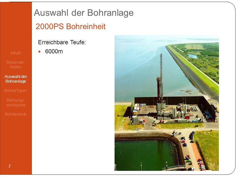 Auswahl der Bohranlage 2000PS Bohreinheit Erreichbare Teufe: 6000m Inhalt Besonder- heiten Auswahl der Bohranlage BohrerTypen Bohrungs- auslegung Bohr