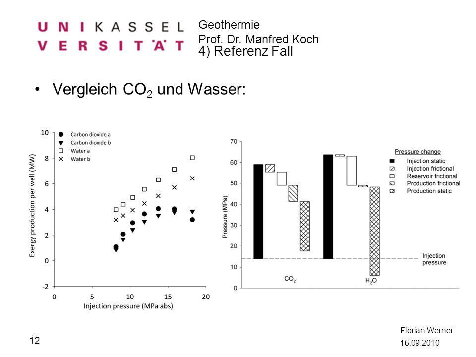 Geothermie Prof. Dr. Manfred Koch Florian Werner 16.09.2010 Vergleich CO 2 und Wasser: 12 4) Referenz Fall