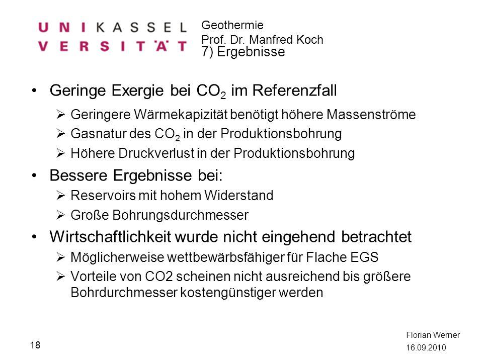 Geothermie Prof. Dr. Manfred Koch Florian Werner 16.09.2010 Geringe Exergie bei CO 2 im Referenzfall Geringere Wärmekapizität benötigt höhere Massenst