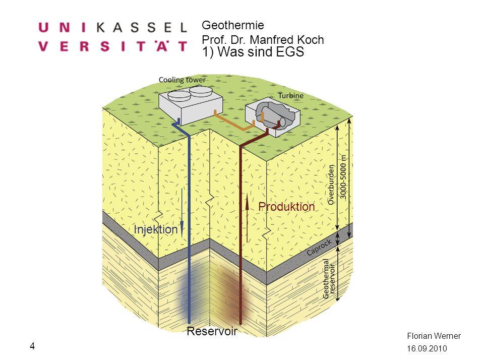 Geothermie Prof. Dr. Manfred Koch Florian Werner 16.09.2010 4 1) Was sind EGS Produktion Injektion Reservoir