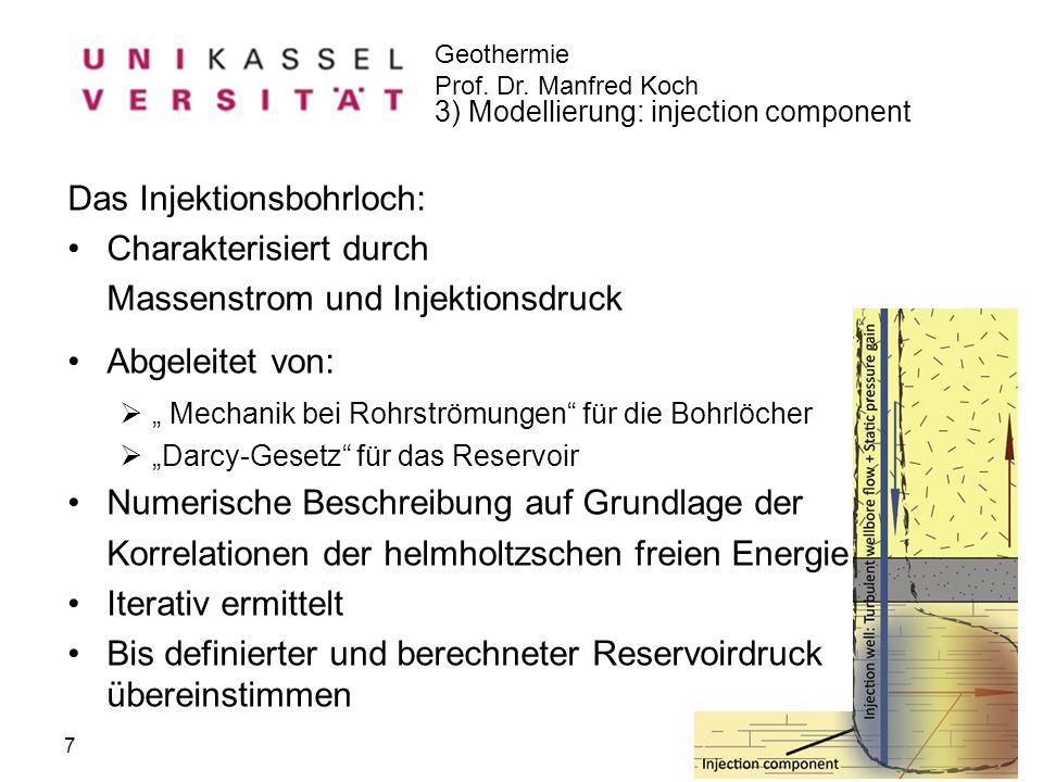Geothermie Prof. Dr. Manfred Koch Florian Werner 16.09.2010 Das Injektionsbohrloch: Charakterisiert durch Massenstrom und Injektionsdruck Abgeleitet v